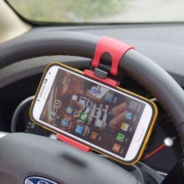 Support de Téléphone Portable Universel avec Fixation au Volant de Voiture pour Smartphone