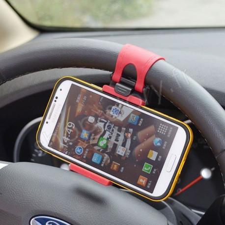 Support de Téléphone Universel Fixation au Volant de Voiture Compatible GPS Smartphone Iphone Samsung LG HTC Sony