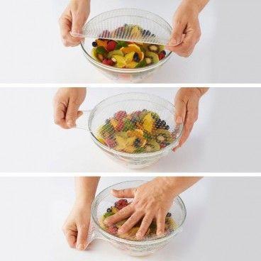 Lot de 4 Couvercles Hermétiques et Réutilisables en Silicone Alimentaire