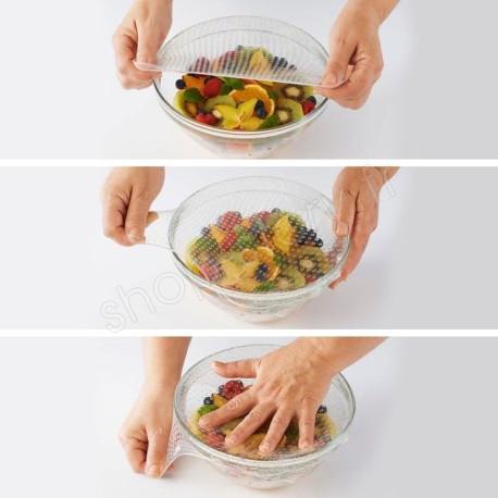 Lot de 4 Couvercles Hermétiques et Réutilisables en Silicone Alimentaire Stretch and Fresh
