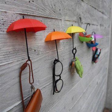 Pack de 6 Parapluies Vide Poche et Porte-Clés avec Fixation Murale