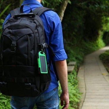 Chargeur Solaire Portable avec Double Sortie USB, Lampe LED et Mousqueton