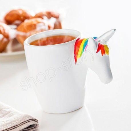 Tasse Mug Licorne - Tasse blanche en Céramique avec Poignée de tête de Licorne