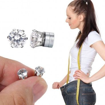 Boucles d'Oreilles Diamants / Aimants Minceurs - Perte de Poids Naturelle