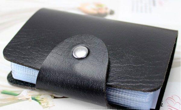 Organisateur Porte Cartes de Crédit en Cuir Noir 24 Cartes Visites et Carte de fidélité