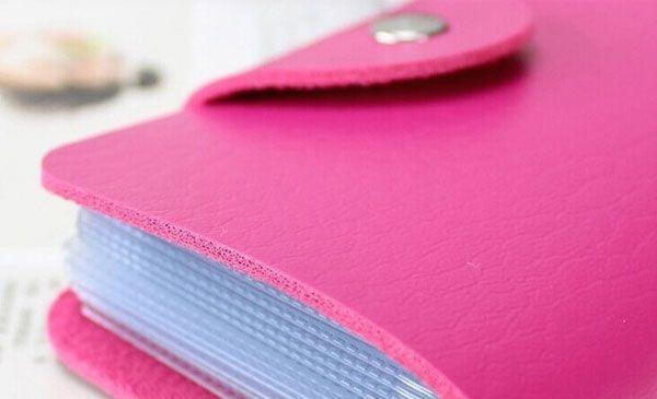 Organisateur Porte Cartes de Crédit en Cuir Rose 24 Cartes Visites et Carte de fidélité