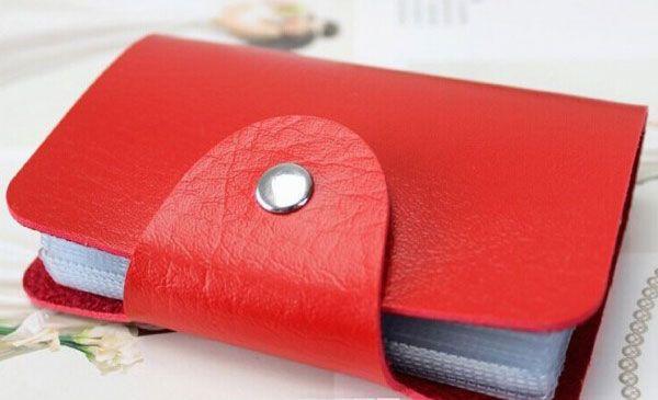 Organisateur Porte Cartes de Crédit en Cuir Rouge 24 Cartes Visites et Carte de fidélité