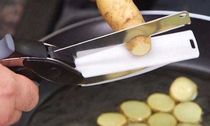 Couteau et Ciseau de Cuisine 2 en 1 Sur Planche à Découper Clever Cutter Coupe Express Groupon