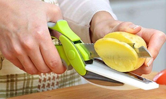 6 en 1 Couteau et Ciseau de Cuisine avec Mini Planche à Découper Intégrée GROUPON