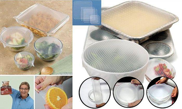 Lot de 4 Couvercles Magic'Over Tupperware Hermétiques Ajustables Réutilisables en Silicone Alimentaire Stretch and Fresh