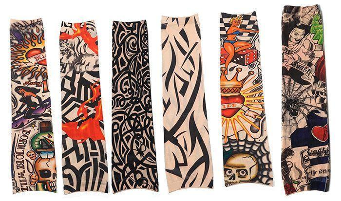 Lot de 6 Manchettes Tatouages Élastiques Tattoo Sleeves GROUPON