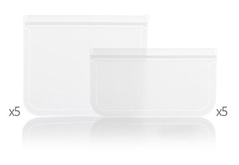 Pack de 10 sacs alimentaires lavables, réutilisables et écologiques