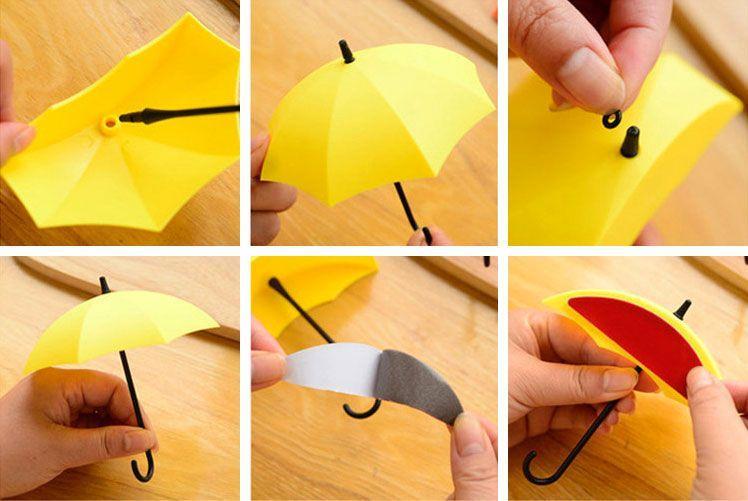 Pack de 6 Porte-clés Parapluies avec Fixation Murale Déco Pratique Esthétique Design GROUPON