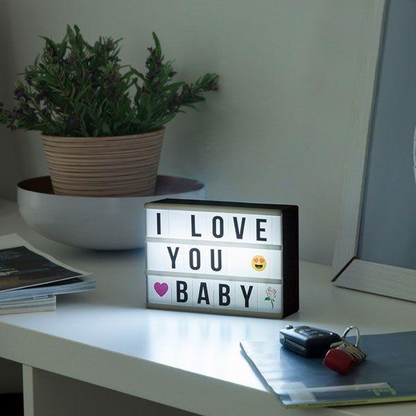 Petit Panneau Lampe boite Customiser LED Light Box lumineuse Retro-eclaire Message Vu à la Télé Groupon