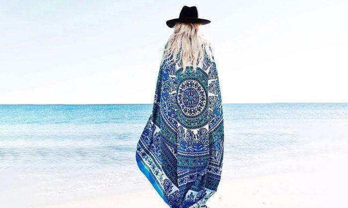 Paréos Hippie Chic / Serviette de Plage Ronde Imprimés Aztec Groupon