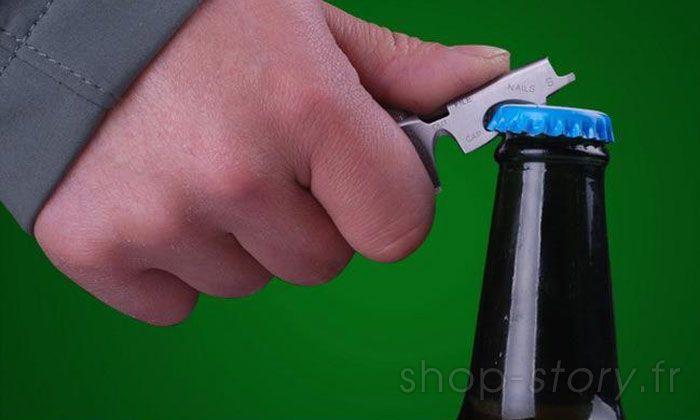 Porte Clés Outils Multifonction 8 en 1 KeyTool avec Décapsuleur Tournevis et autres