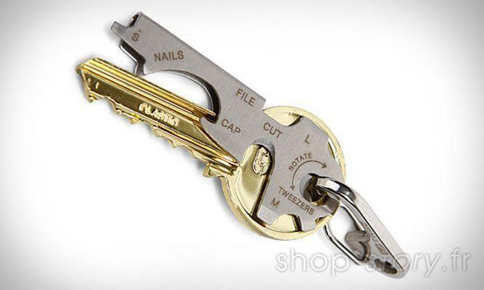 Porte Clés Outils Multifonction KeyTool avec Décapsuleur Tournevis et autres