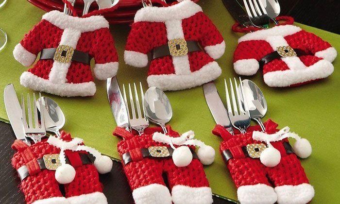 Lot de 3 Porte-Couverts Père Noël pour Décoration de Table Vu à la Télé Groupon