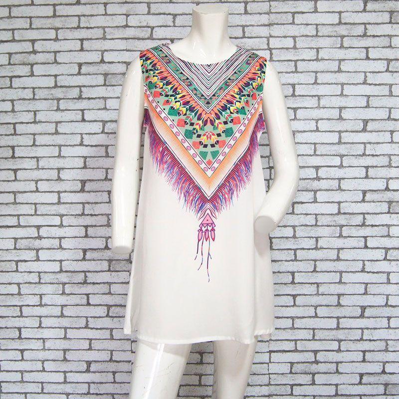 Mahé Robe d'été Courte et Sans Manches Hippie-Chic Blanc Devant