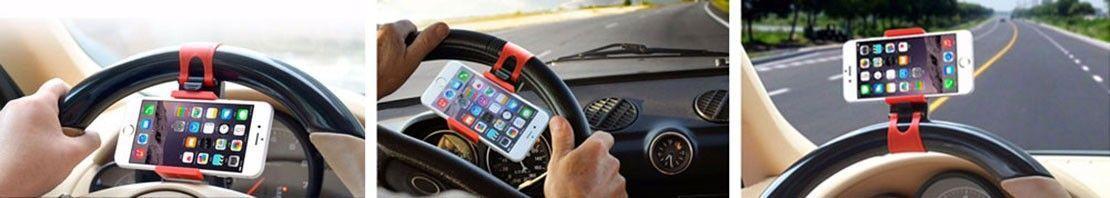 Support de Téléphone Universel Réglable au Volant de Voiture Compatible GPS Smartphone Iphone Samsung LG HTC Sony