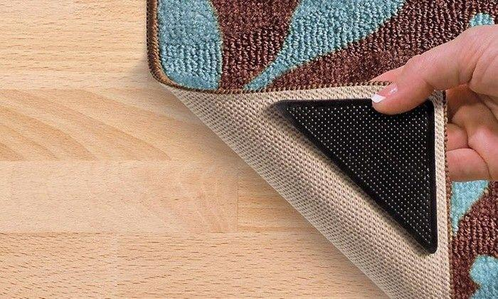 Lot de 4 Supports Anti-Dérapants pour Tapis avec Autocollants Groupon