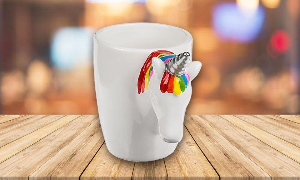 Tasse Mug Licorne - Tasse blanche en Céramique avec Poignée de tête de Licorne GROUPON