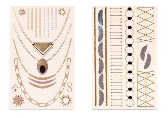 Bijoux Tatouages Éphémères Étanche Tattoos Temporaires Sticker Format Bijoux Or Argent Planche 1 Deal Groupon Lot pour Loto