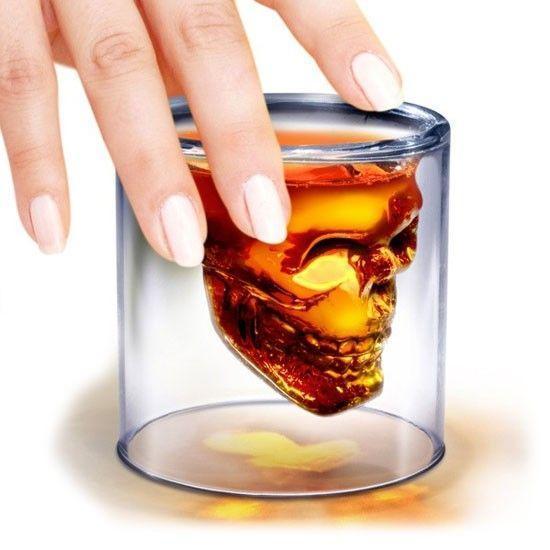 Shooter Verre à Shot Tête de Mort Crâne de Cristal Vodka Whisky