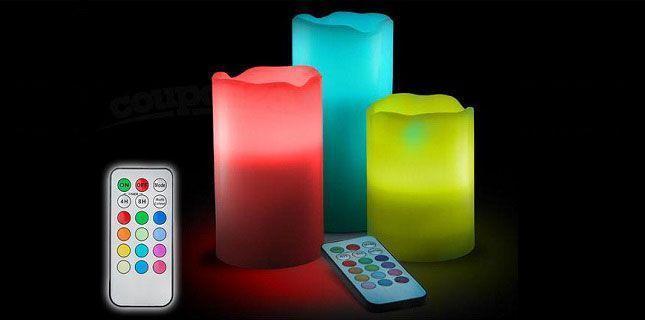 Lot de 3 bougies LED multicolores au parfum de vanille avec télécommande