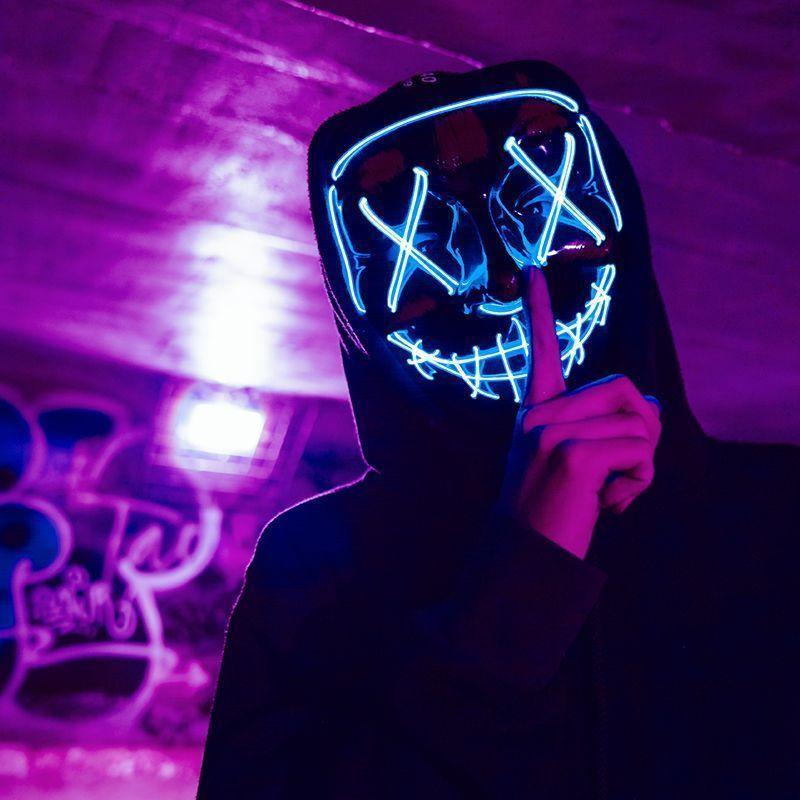 Masque LED de film d'horreur - La Purge Bleu