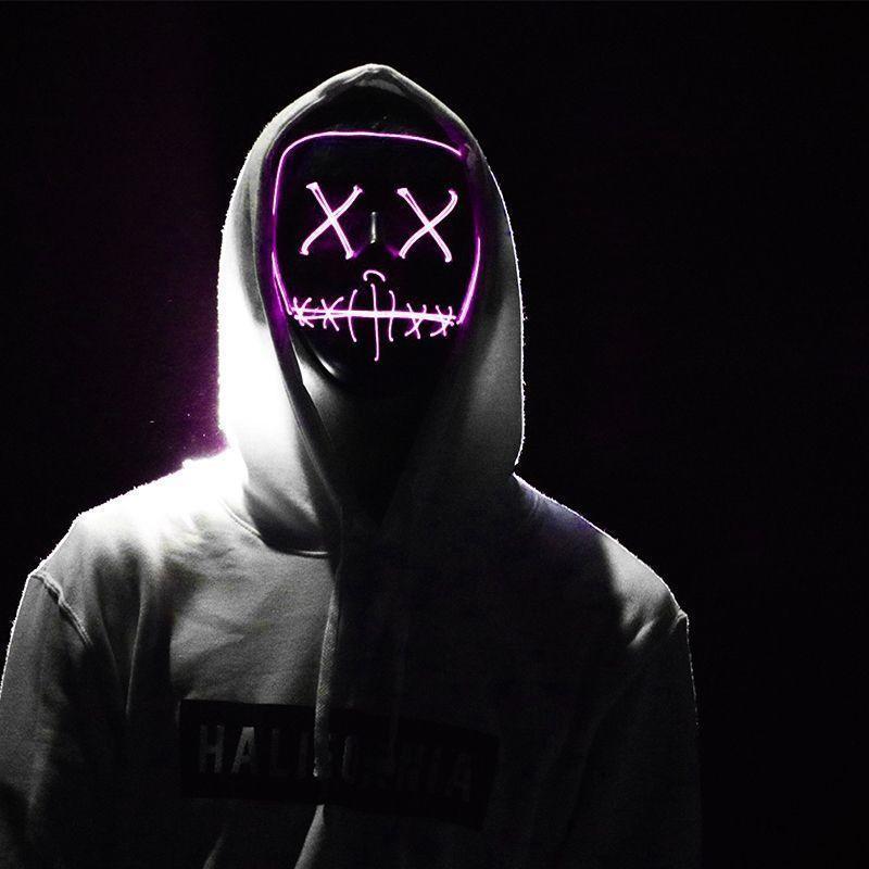 Masque LED de film d'horreur - La Purge Rose