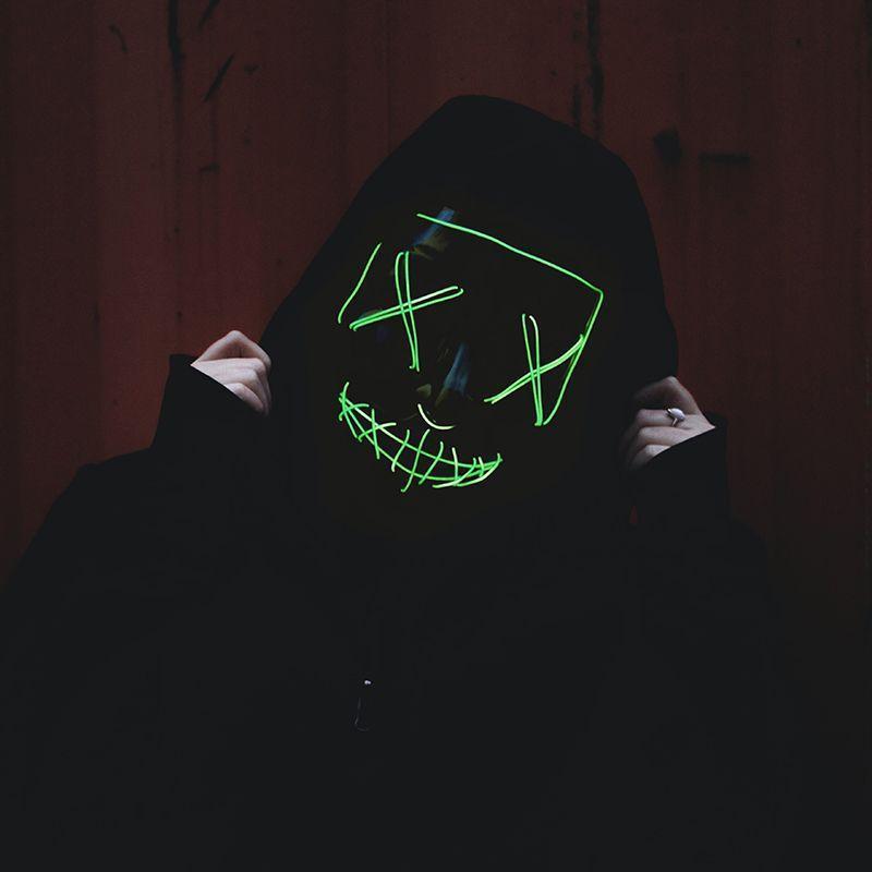 Masque LED de film d'horreur - La Purge Vert